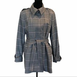 NWT Carolina Belle plaid trench coat tie waist